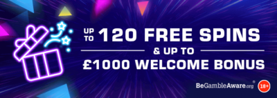 Up to 120 free spins & up to £1,000 welcome bonus - Dr Slot Casino welcome bonus